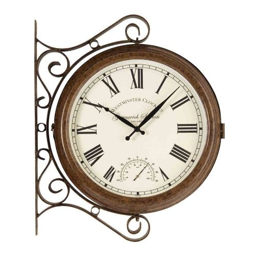 Greenwich Double-Sided Station Clock and Thermometer